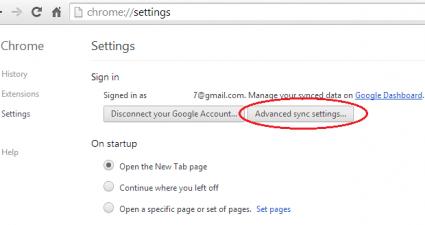 Advanced Sync Settings Chrome