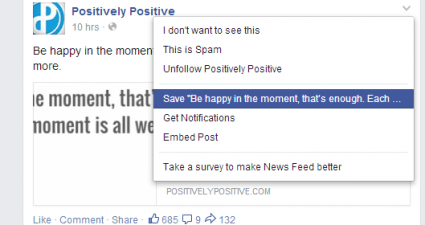 Bookmark a post on Facebook