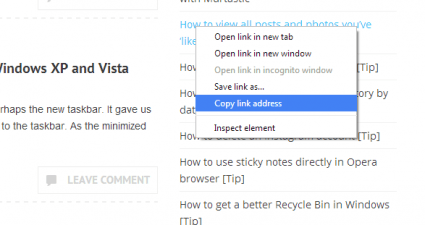 Copy link address keyboard shortcut Chrome