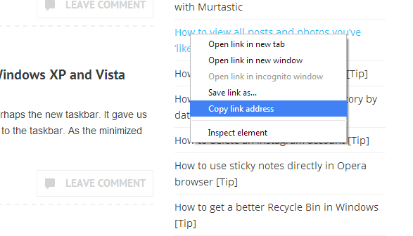 Copy link address keyboard shortcut Chrome