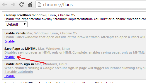 Enable Save page as MHTML option