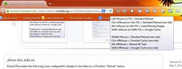 Firefox reload hotkeys