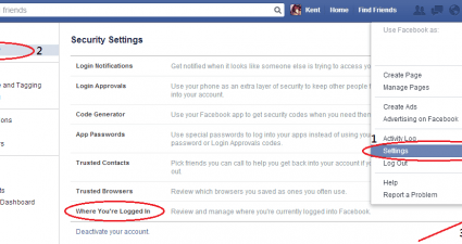 Remotely log out from Facebook b