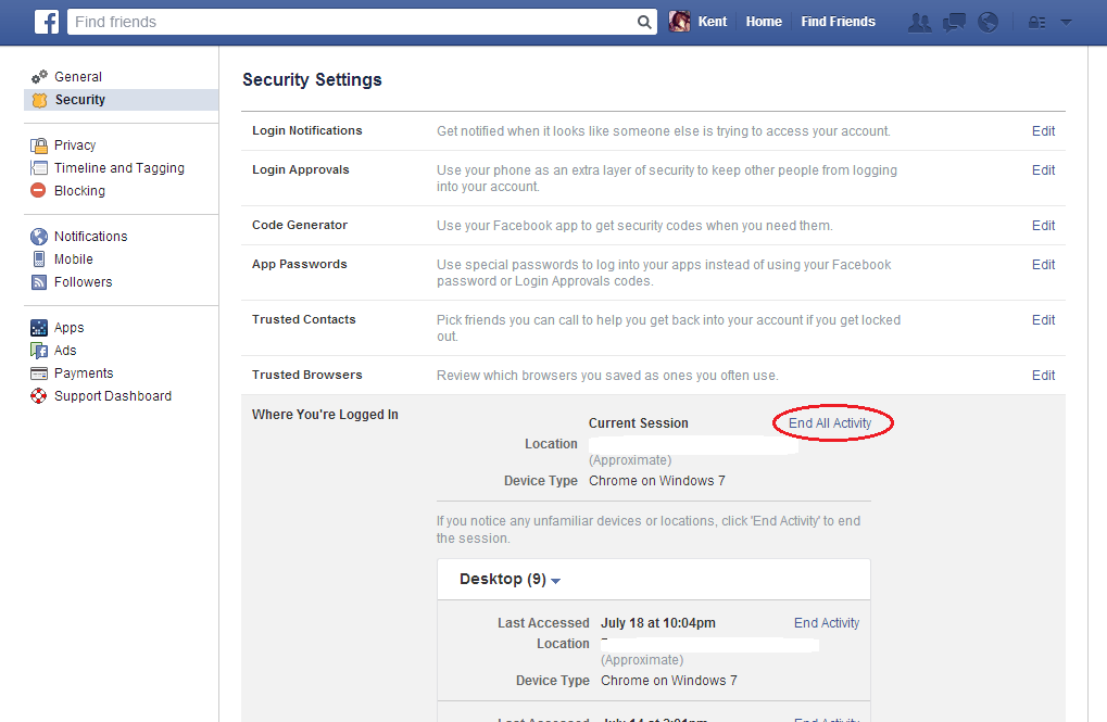 Remotely log out from Facebook