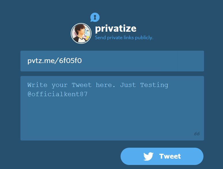 Send private link to Twitter