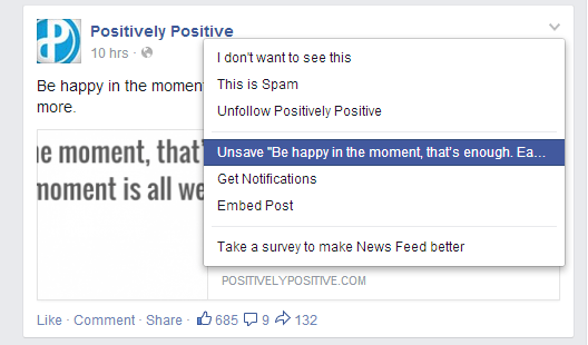 Unsave a post on Facebook