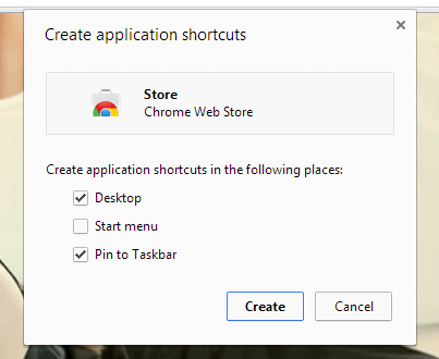 Web Store create shortcut b