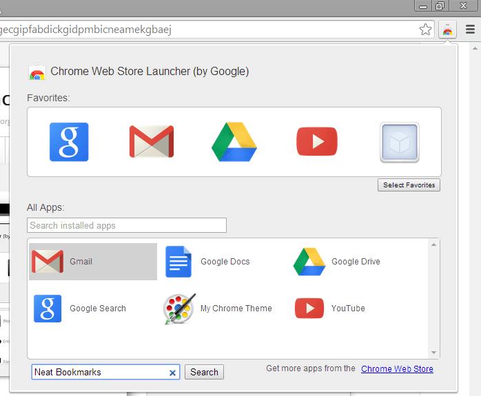 Web Store shortcut omnibox