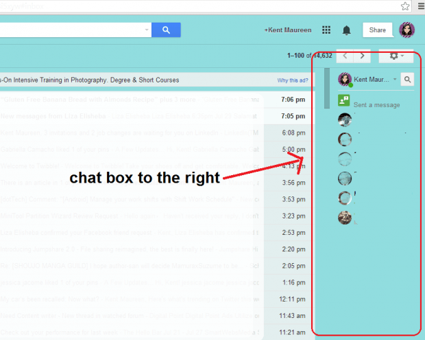 chat box to the right
