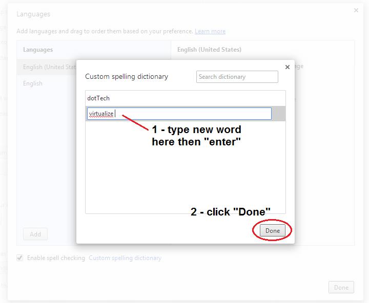 edit custom spelling dictionary Chrome b