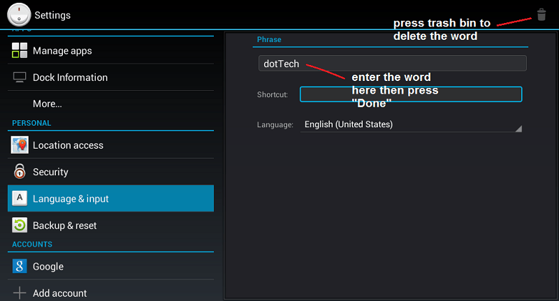 enter word to user dictionary
