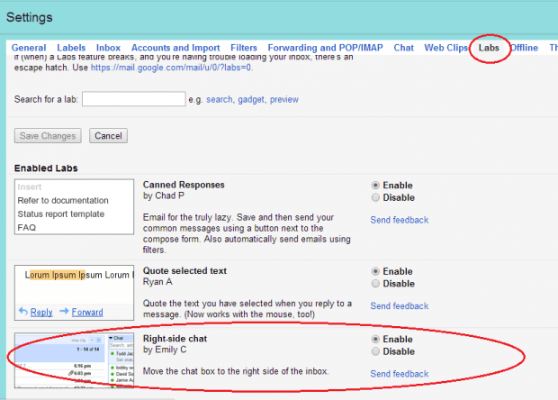 right side chat box Gmail