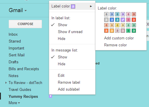 Change label color in Gmail c