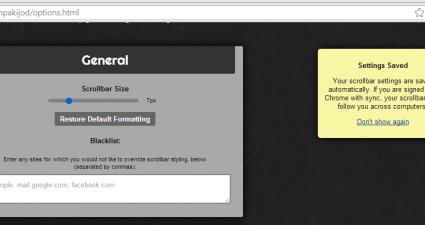Change scrollbar size Chrome