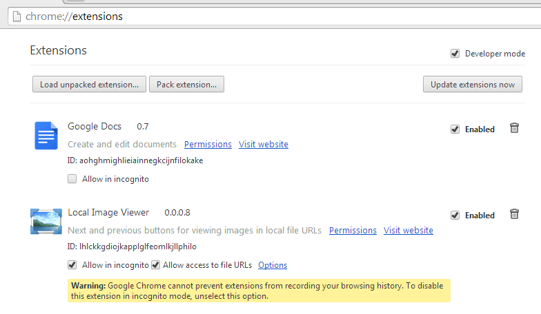 View local images in Chrome