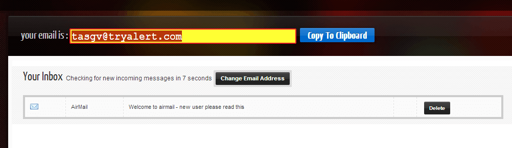 create temporary email