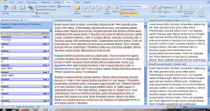 Compare documents in MS Word 2007 b