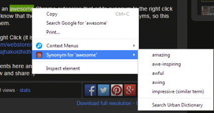 add synonym option to right-click menu Chrome