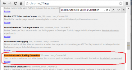 enable auto correct feature in Chrome