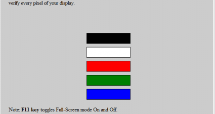 Bad Pixel Test in Chrome