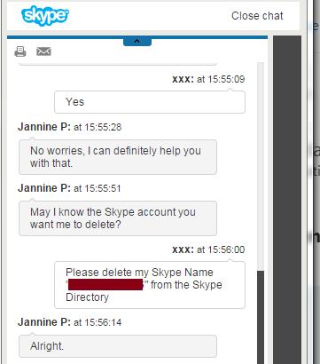 Delete skype account request