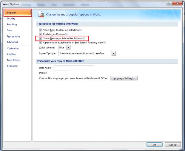 Developer tab in MS Word 2007 b