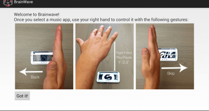 Use gestures to control music app Android