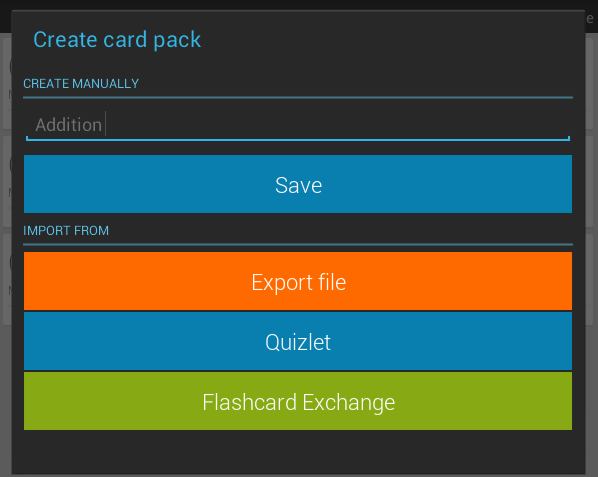 create flash card android