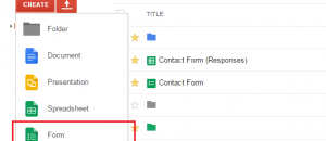 create forms in Google Drive