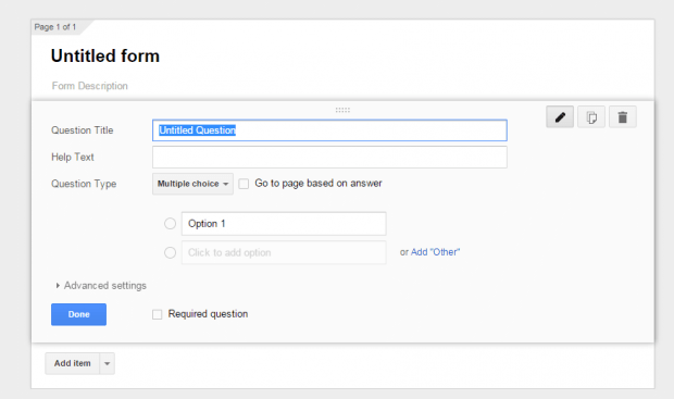 create forms in Google Drive c