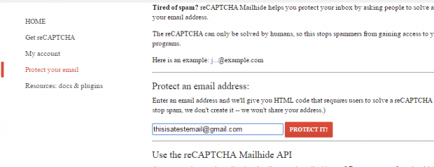 hide email address with captcha