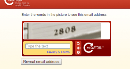 hide email address with captcha c