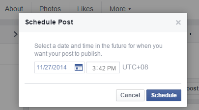 schedule posts on a Facebook Page b