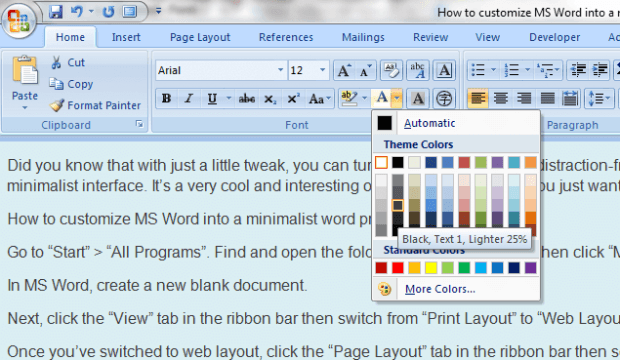Minimalist MS Word 2007 h