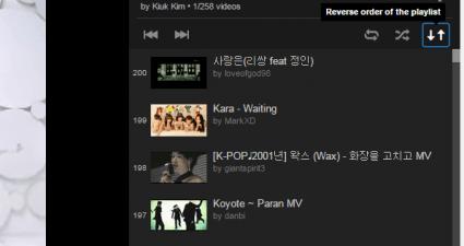 Reverse YouTube Playlist option c