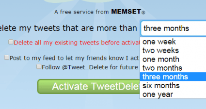 automatically delete posts in Twitter