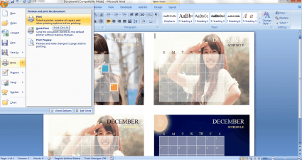 create custom calendar in MS Word 2007 e