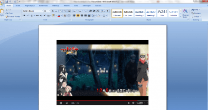 embed YouTube video in MS Word 2007