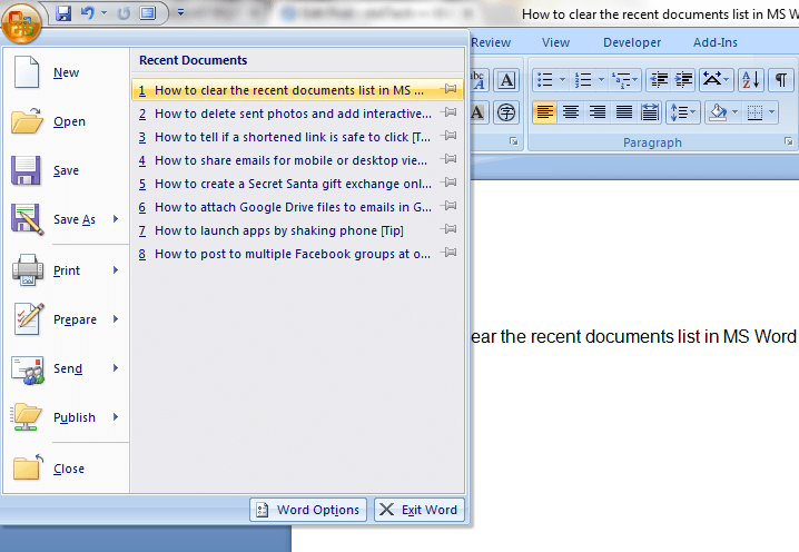 how to search word 2007 document for a word