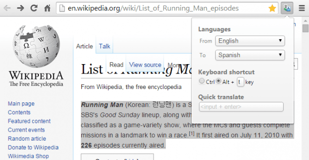 translate selected text right click menu Chrome
