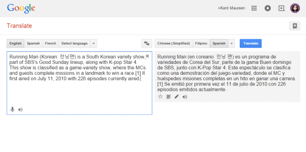 translate selected text right click menu Chrome c