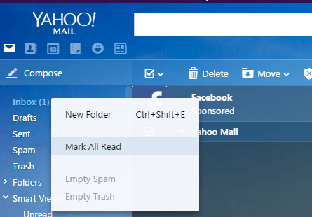 Mark all unread emails as read in Yahoo! Mail