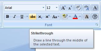 Strikethrough MS Word 2007