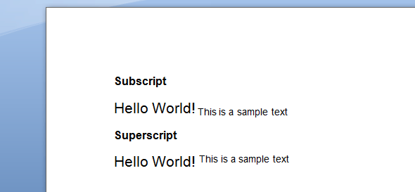 Subscript Superscript text style MS Word 2007