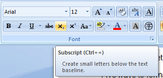 Subscript style