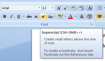 Superscript style