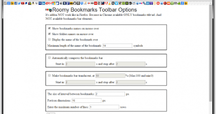 add extra row of bookmarks in toolbar Chrome c