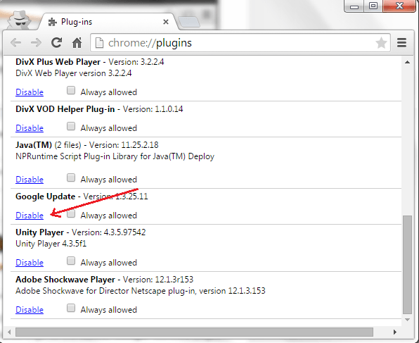 disable automatic updates in Chrome