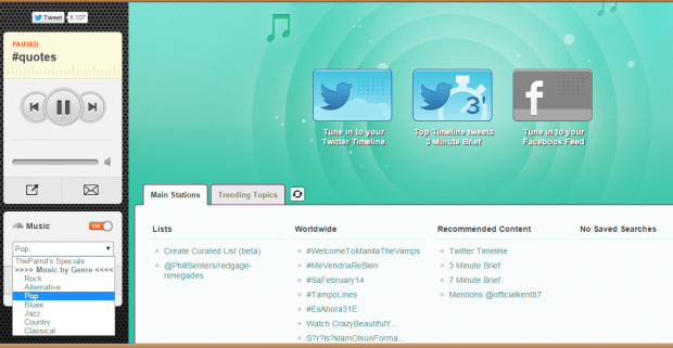 listen to tweets mixed with music
