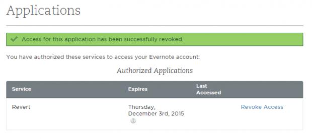 revoke app access Evernote d